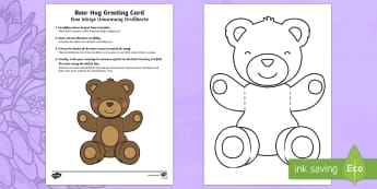 Bear Hug Greeting  Cards - German - Mothers' Day, Fathers' Day, greeting card, template, bear hug, visual art, cutting, colour, dad, m