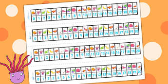Number Track 0-20 to Support Teaching on Sharing a Shell - count, counting, counting aid