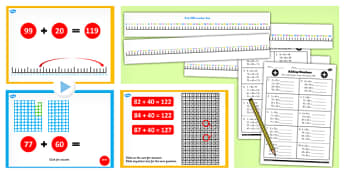 Year 2 Adding 2 Digit Numbers and Tens Crossing 100 Add to Same