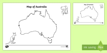Blank Map of Australia Activity Sheet - map, mapping, australia, History, worksheet