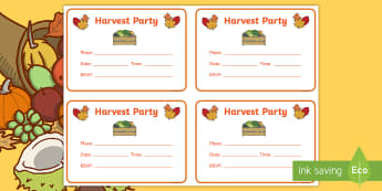 Harvest Party Invitation Writing Template - writing task, formative writing, writing for purpose, festival, party planning,Scottish