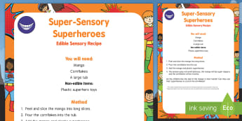 Super Sensory Superheroes Edible Sensory Recipe - Superheroes, superhero, super hero, sensory play, batman, superman, spiderman