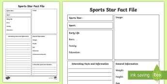 Sport Star Fact File Writing Template - Sport, Star, Fact, File, questionnaire, idol ,Irish