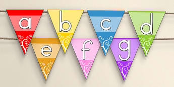 Multicolour Alphabet Bunting Stick and Ball - australia, alphabet, bunting
