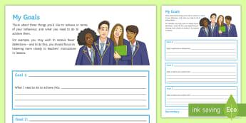 My Behaviour Goals Activity Sheet - Goals, behaviour, classroom management, reflection sheet, targets, worksheet