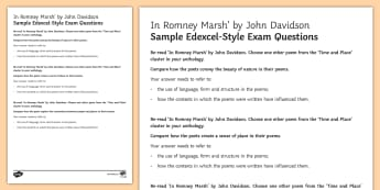 Edexcel-Style Sample Exam Questions to Support Teaching on 'In Romney Marsh' by John Davidson - GCSE English Literature, Time and Place Cluster, Edexcel Poetry, Poetry Exploration, Exam Practice,