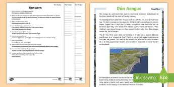 Dún Aungus Comprehension Activity  - ROI - Dún Aonghusa,bronze age, fort, dun aengus, aran islands, inishmore, galway,Irish