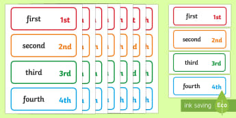 Ordinal Numbers Word and Number Cards - ordinal, numbers, words