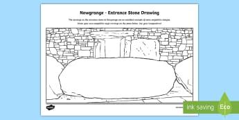 Newgrange, Entrance Stone Activity Sheet - ROI Places of Interest, tourism, history, geography, ireland,work sheet, entrance stone, megalithic