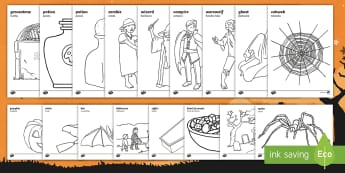 Halloween Colouring Pages English/Spanish - colouring, colour, activity, pumpkin , witch, bat, scary, black cat, mummy, grave stone, cauldron, b