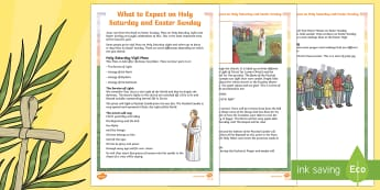 Catholic KS2 What to Expect on Holy Saturday and Easter Sunday Information Sheet - NI, Easter, Holy Saturday, Easter Sunday, vigil, Mass, Paschal, candles, dawn, information, easter,