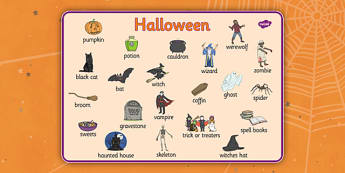 Halloween Word Mat - festival, key words, visual aid, writing aid