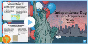 Independence Day Informational PowerPoint US English/Spanish (Latin)  - Independence Day PowerPoint, Independence Day Informational PowerPoint,  Independence Day, 4th of Ju