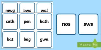 Geiriau Allweddol Glas Cardiau Fflach - tric a chlic, ffoneg, darllen, aml uchel aml-uchel, reading, phonics,Welsh