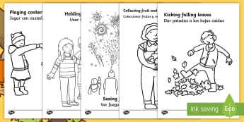 Autumn Action Colouring Pages English/Spanish  - autumn, colouring pages, colour, autmn, autunm, atumn, aurum, aurumn, colering, colourng, couloring,