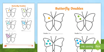 Butterfly Doubles to 10 Activity Sheet - doubling to ten, butterflies, butterfly, butterfly doubling, double to 10, worksheet, worksheets, wo