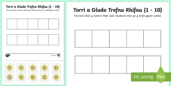 Cut and Stick Number Ordering Daffodil Activity 1-10 Welsh - cut and stick, number ordering, number, order, daffodil, activity, 1-10