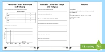 Favourite Colour Bar Graph and Tallying Activity Sheet - worksheet, data, presenting data, tally, tally chart, statistics, graphs, plotting