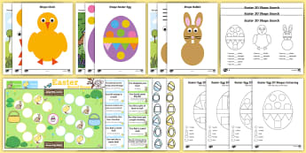 Easter Themed 2D Shape Activity Pack - easter, chicks, easter bunny, easter eggs, shapes, 2d shape, 2d shapes