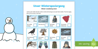 Winter German Vocabulary Hunt Activity Sheet - Seasons, Winter, Snow, German, School ground, worksheet