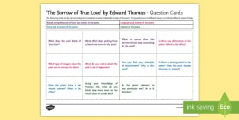 'The Sorrow of True Love' by Edward Thomas Question Cards - Poetry, GCSE poetry, First World War Poetry, First World War Poets, OCR Anthology, Towards A World U