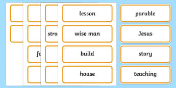 The Two Builders Word Cards - parables, two builders, word cards