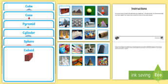 Workstation Pack: 3D Shapes in the Environment Activity Pack - Workstation, TEACCH, 3D, p scales, p levels, shape and measure, autism, ASD