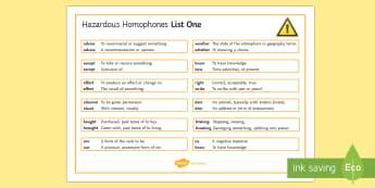 Hazardous Homophones List One Word Mat - Homophone, homophones, spelling, ks3, Language, SPAG
