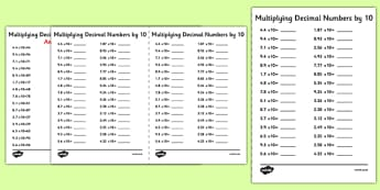 Multiplying Decimal Numbers by 10 A5 Activity Sheet - multiplying, decimal, numbers, by 10, activity, sheet, worksheet