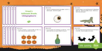Halloween Breuke Uitdagingskaarte  - Oktober, Wiskunde, gesyferdheid, probleme, spook, pampoen
