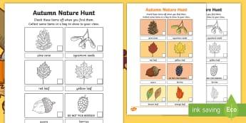 Autumn Outdoor Nature Hunt Checklist - outdoor Learning, autumn, fall, leaves, treasure hunt, investigation,Scottish