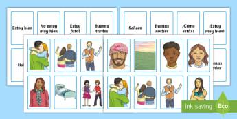 Spanish Greetings Snap Game  - Spanish games,  Spanish activities, Spanish snap, Spanish greetings, Spanish common phrases, Spanish