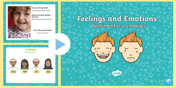 Feelings and Emotions PowerPoint English/Portuguese - eal translation, sad, scared, angry, happy, discussion starter pictures of people frightened, ppt,