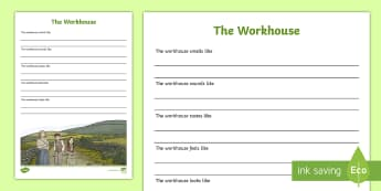 Workhouse Sensory Poem-Irish - Resources to Support The Teaching Of Under the Hawthorn Tree, workhouse, sensory poem, poetry, diffe