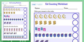 Eid Counting Worksheet - Eid, counting worksheet, eid themed, eid themed counting worksheet, eid counting sheet