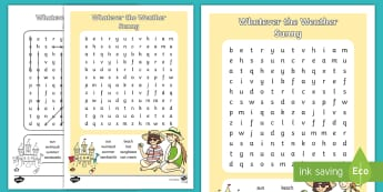 Whatever the Weather Sunny Word Search - Exploring My World, sun, Summer, seasons, clothes, aistear, literacy, oral langage, reading, writing