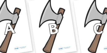 A-Z Alphabet on Axes - A-Z, A4, display, Alphabet frieze, Display letters, Letter posters, A-Z letters, Alphabet flashcards