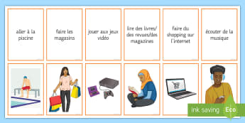 Hobbies Matching Cards French - KS3, French, Hobbies, Leisure, Freetime, passe-temps, matching cards, vocabulary,French