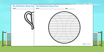Wimbledon Shape Poetry Template - tennis, sports, pe, poem, poems
