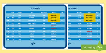 Airport Arrivals and Departures Screens - Airport, role play, roleplay, holidays, holiday, flight, timetable, airports, plane, jet, arrivals, departures, pilot, summer, sun, sand