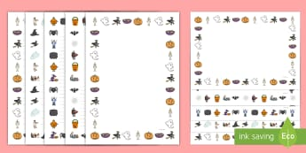 Halloween Page Borders Page Border Pack English/Hindi  - Halloween Page Borders,writing, EAL, Hindi