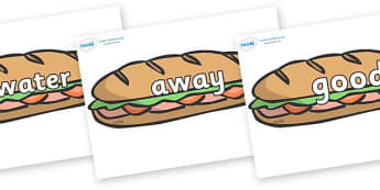 Next 200 Common Words on Sandwiches - Next 200 Common Words on  - DfES Letters and Sounds, Letters and Sounds, Letters and sounds words, Common words, 200 common words
