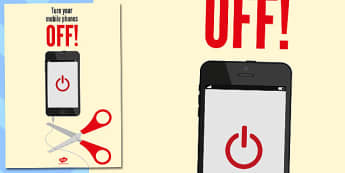 Turn Off Phones Poster - phones, poster, display, turn off, off