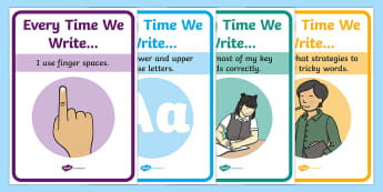 Every Time We Write A4 Display Poster - Writing Prompt Display Posters - Writing prompt, writing aid, writing aids, A4, display, punctuation