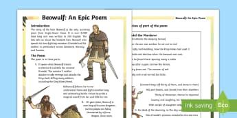UKS2 Beowulf Differentiated Fact File - KS2, comprehension, reading, reading comprehension, reading activity, history, Anglo-Saxons, Beowulf
