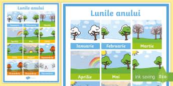 Lunile anului Planșă cu diferite dimensiuni - decorul clasei decor cu folos, anotimpurile, anotimp, vremea,Romanian