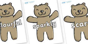 Wow Words on Teddy Bears - Wow words, adjectives, VCOP, describing, Wow, display, poster, wow display, tasty, scary, ugly, beautiful, colourful sharp, bouncy