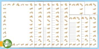 Australian Sign Language (Auslan) Alphabet Themed Page Border -  deaf, signing, sign language interpreter, learning language, signs, hard of hearing, hearing impair