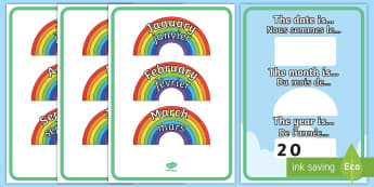 Month and Year Rainbow Display Poster English/French - Month and Year Rainbow Poster - month and year, rainbow poster, rainbow, poster, display poster, dis