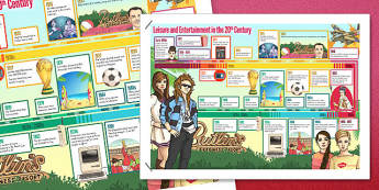 Leisure and Entertainment in the 20th Century Timeline Poster - timeline, poster, display,